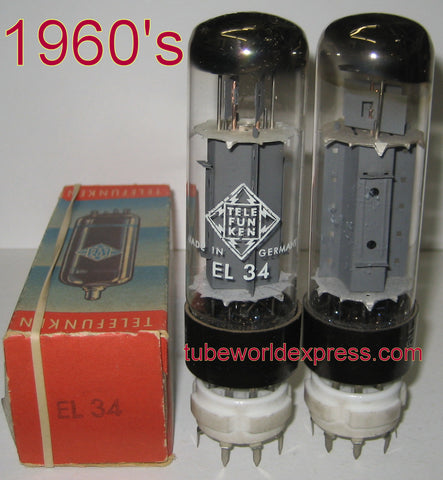 (!!) (#1 EL34 Telefunken pair) EL34 Telefunken Germany 1960's same build (80.5ma NOS and 82.6ma used/good) tested on Amplitrex