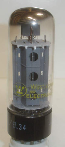 EL34 Hitachi Japan rebranded Westinghouse NOS 1973 in white box, holes in plate version (93ma)