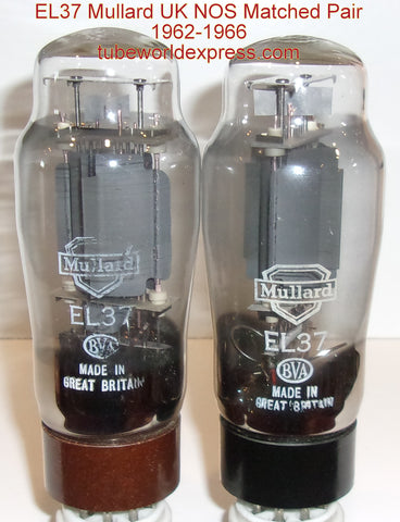 (!!!!!) (BEST OVERALL PAIR) EL37 Mullard NOS black base and brown base gray plate same build NOS 1962-1966 (90.5ma and 91.5ma)