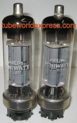 (!!) (#2 EL50 Pair) EL50 Philips Miniwatt NOS 1958 (48ma and 48.2ma) (matched on Amplitrex) (EL50 replaces 4654)