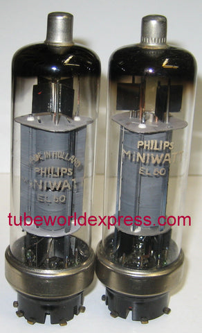 EL50 Philips Miniwatt used/good 1955 (1 pair: 40.5ma and 41ma) (matched on Amplitrex) (EL50 replaces 4654)