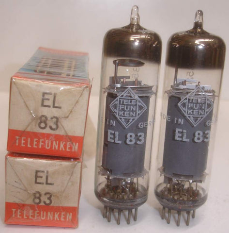 (!) (#1 EL83 Pair) EL83 Telefunken Diamond Bottom NOS 1965-1966 (41.2ma and 42ma) (matched on Amplitrex)
