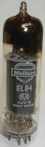 (!!) (#1 6BQ5 Mullard Single) EL84 Mullard NOS (rX1-B5I=1955) with SOLID DISC GETTER HALO, 1st Series made, re-printed (42ma)