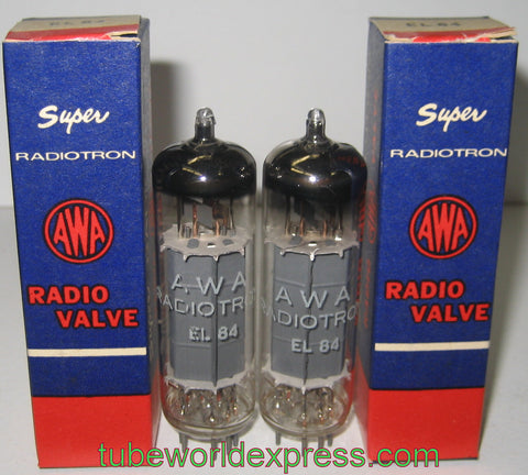 (!!!!!) (BEST PAIR for the money) EL84 AWA Super Radiotron Australia NOS original boxes early 1960's (46.5ma and 47.5ma) (same internal build  and sound as EL84 Holland 1960's)