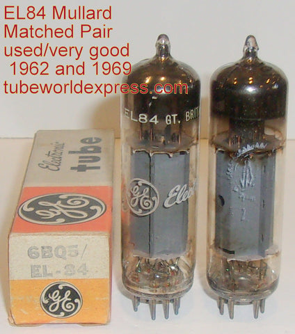 (!!!!) (Best Used Pair) EL84 Mullard UK rebranded used/strong 1962 and 1969 (43ma and 44ma)