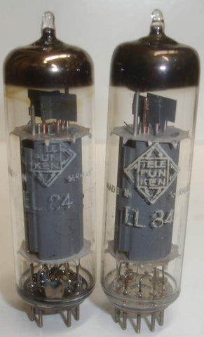(!!!!) (Best Telefunken Pair) EL84 Telefunken Germany <> bottom used/good 1958 - 1961 (40ma and 41ma)