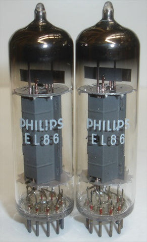 (!!) (#3 EL86 MULLARD PAIR) EL86=6CW5 Mullard UK branded Philips NOS 1965 (74.5ma/76ma)