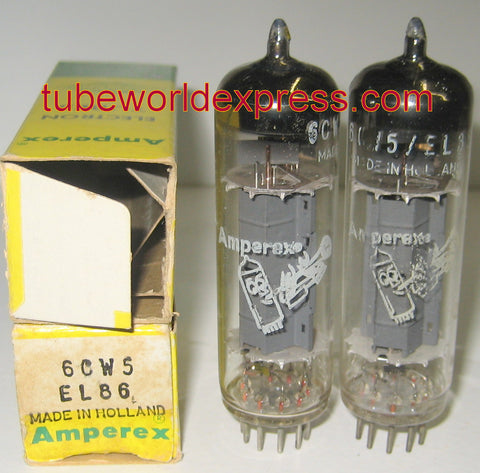 (*) (BEST EL86 PAIR) EL86=6CW5 Amperex Bugle Boy Holland NOS 1964-1966 (60ma and 57ma) matched on Amplitrex
