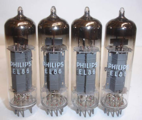 (!) (#1B EL86 QUAD) EL86=6CW5 Mullard UK branded Philips NOS 1965 Kuhl-Tube cryo-treated (77-78ma) matched on Amplitrex