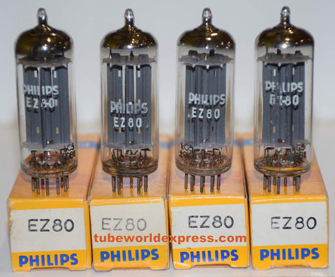 (!!!) (#1 EZ80 Quad - Best Value) EZ80 Philips France NOS 1969-1970 (1 set of 4)