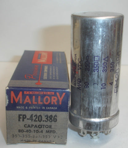 80/40/10/4uf @ 350V Mallory FP cap NOS (1 in stock)
