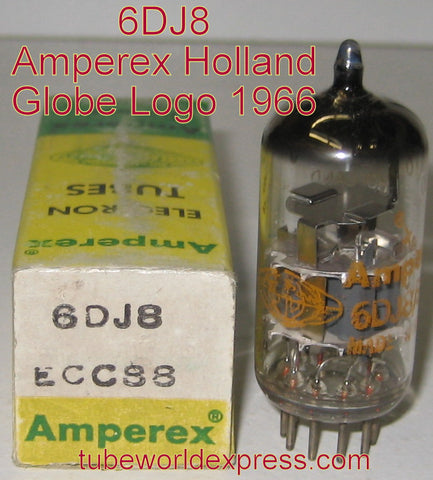 (!) (#1 6DJ8 - BEST OVERALL) 6DJ8 Amperex Globe Logo Holland NOS 1966 (19.6/21.6ma) (strongest Ma and Gm)