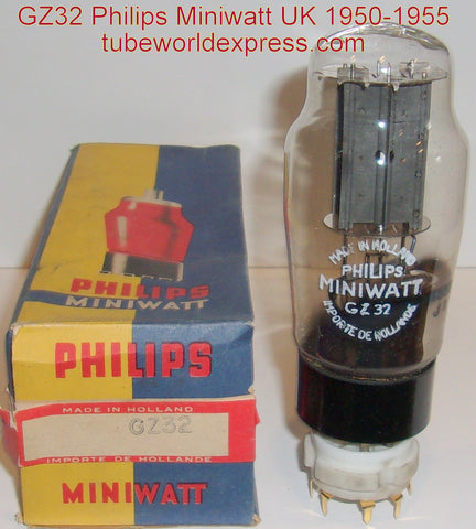 (!!!) (#1 GZ32 Best Overall Sound) GZ32 Philips Miniwatt UK gray plates NOS 1950-1955 (58/40 and 60/40)