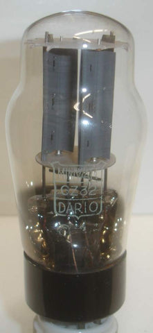 (!) (BEST GZ32 SINGLE) GZ32 Miniwatt Dario France like new around 1955 (60/40 and 61/40) glass slightly tilted