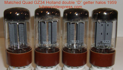 (!!!!) (#1 5AR4 Amperex Holland Matched Quad 1959 - best sounding quad) GZ34=5AR4 Holland brown base NOS 1959 same date codes from military stock