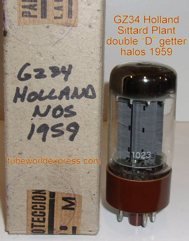 (!!!!) (#1 5AR4 in stock - #1 best value) GZ34=5AR4 Miniwatt Holland brown base NOS 1959 from military stock (58/40 and 58/40)