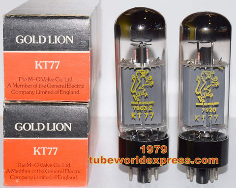 (!!!) (#1 KT77 Gold Lion Matched Pair) KT77 Gold Lion by M-O Valve England NOS 1979 (111ma and 118ma) (Very Close Gm) (FREE SHIPPING)