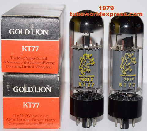 (!!!!!) (~ Best KT77 Gold Lion Matched Pair ~) KT77 Gold Lion by M-O Valve England NOS 1979 (114ma and 115ma) (Highest Ma)