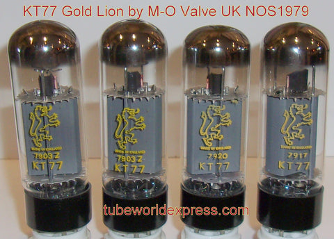 (!!!) (#1 KT77 Gold Lion Matched Quad) KT77 Gold Lion by M-O Valve England NOS 1979 with test sheets (110-118ma) (free express mail shipping)