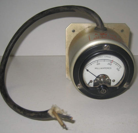 0-300ma DC current meter used/works good - crack in left-hand corner of glass (Type MT-31C by BENDIX RADIO)
