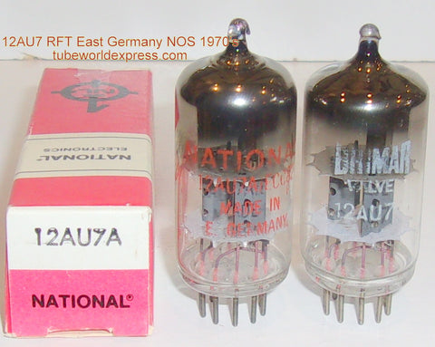 (!!!) (BEST VALUE PAIR) 12AU7A=ECC82 RFT East Germany rebranded National and Brimar NOS 1970's same build (9/11ma and 9.2/10.2ma)