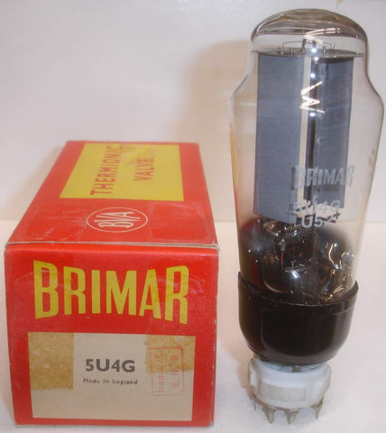(!!) (~ Best Value U52 ~) U52=5U4G GEC rebranded Brimar gray plates NOS 1950's inverted-cup getter halo (54/40 and 58/40) smaller rattle inside base