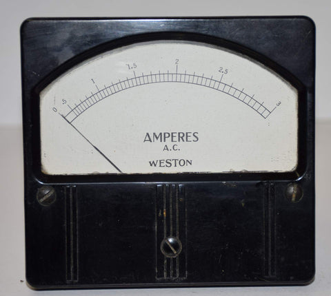 Weston AC current meter used/good: 0-3 amps