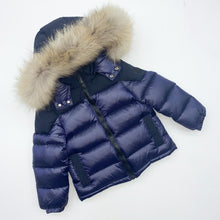 Load image into Gallery viewer, Boys Baby A Navy Shiny Bomber Down Jacket with Fur Hood