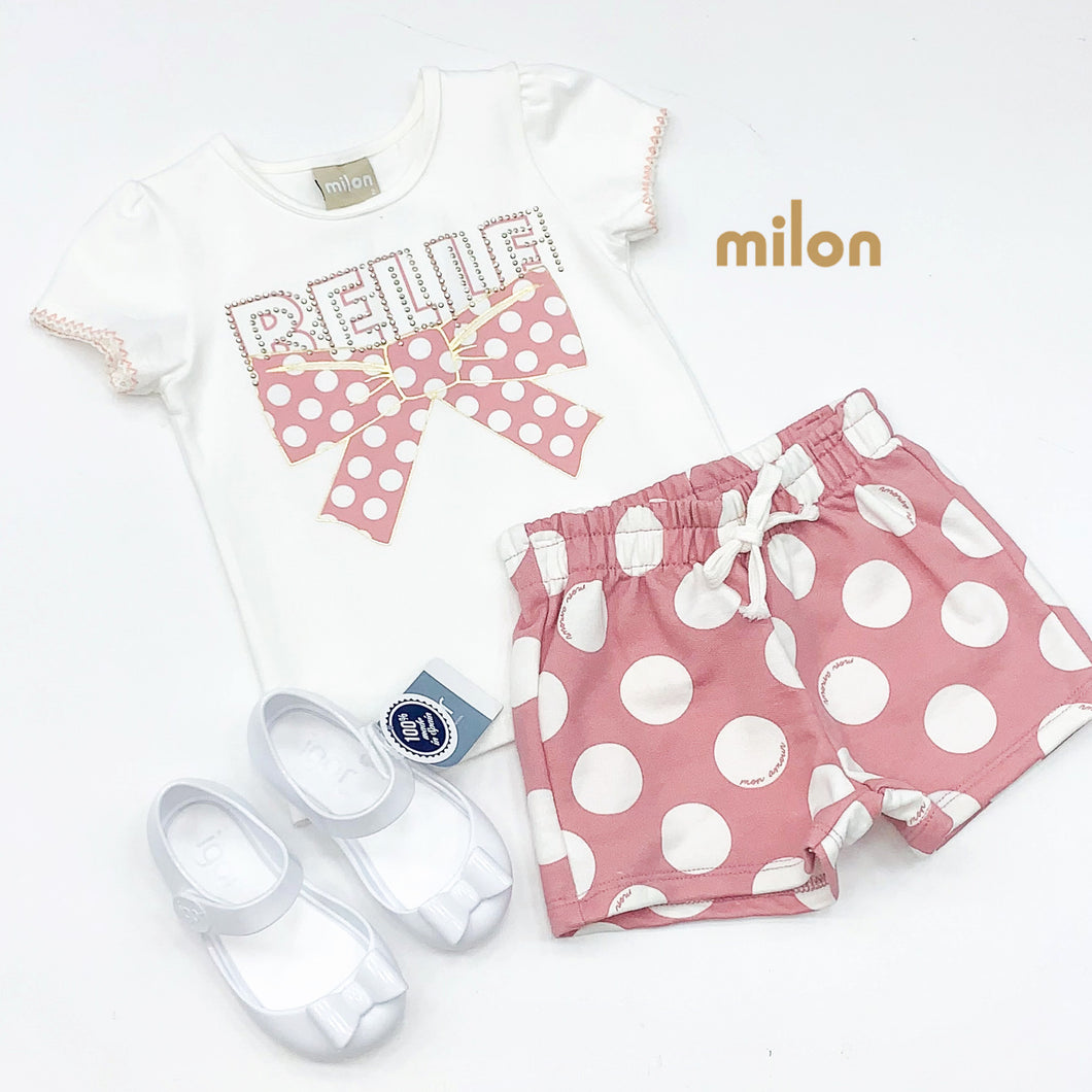 Milon Girls Cream Tee with pink and cream Dotty shorts