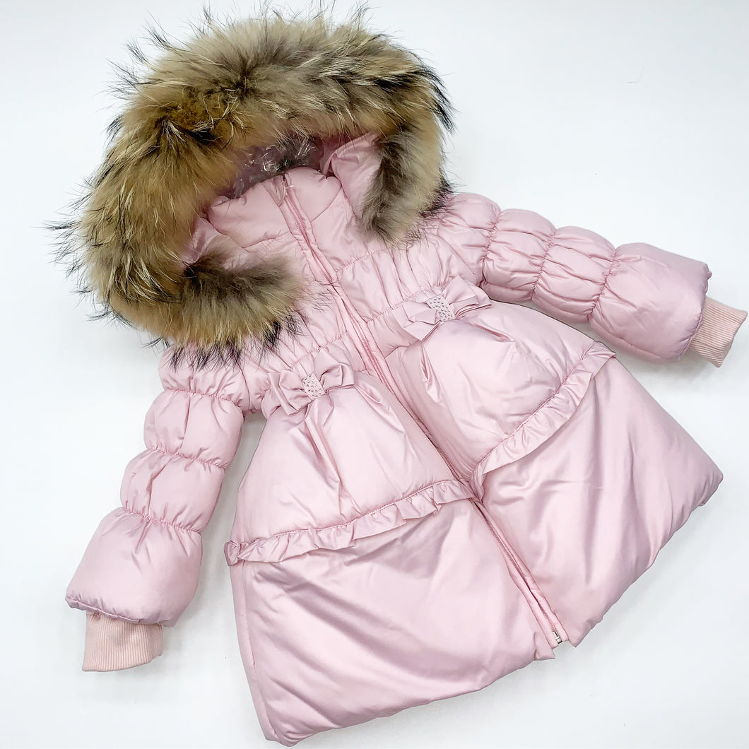 BUFI WINTER 2020 Pink bow baby girls coat