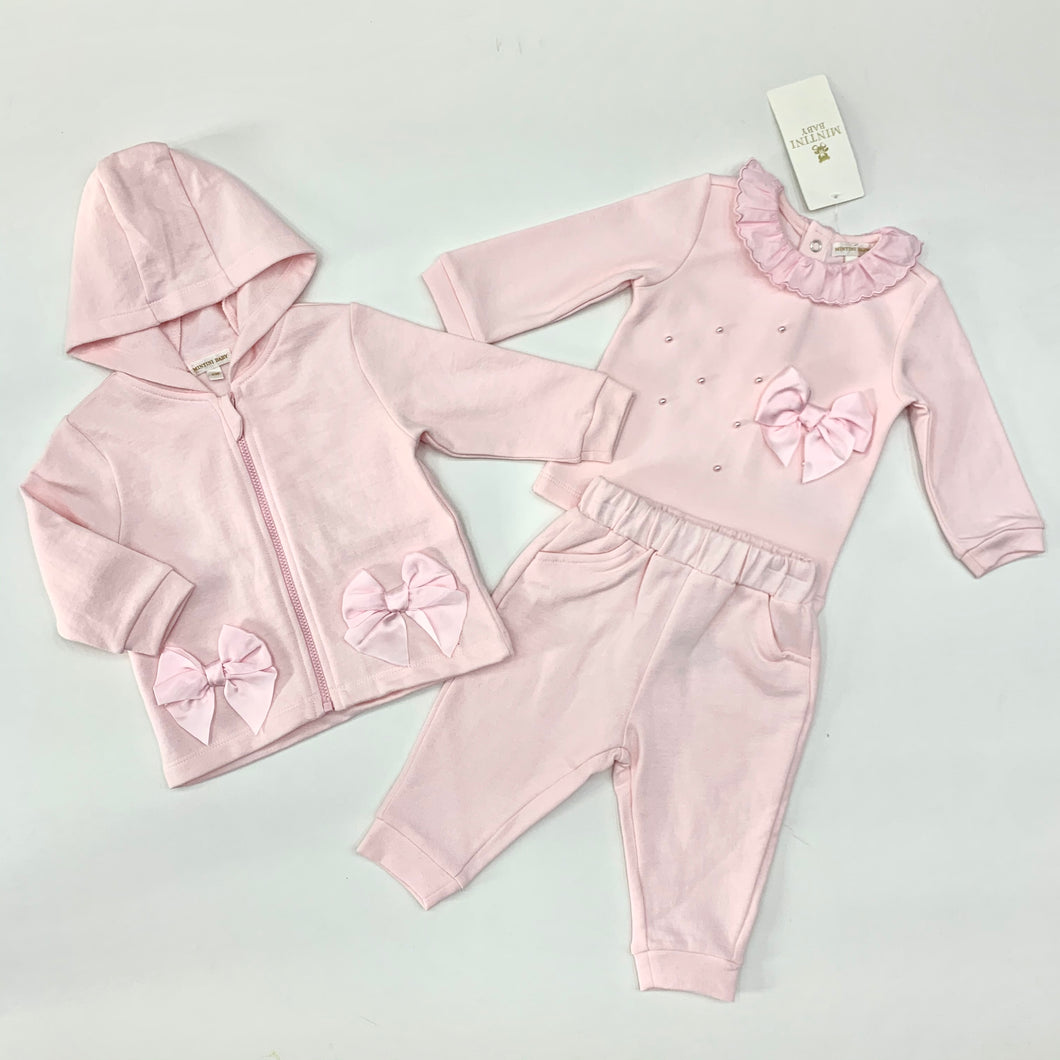 MINTINI BABY Girls Pink 3 Piece Tracksuit & Top Set