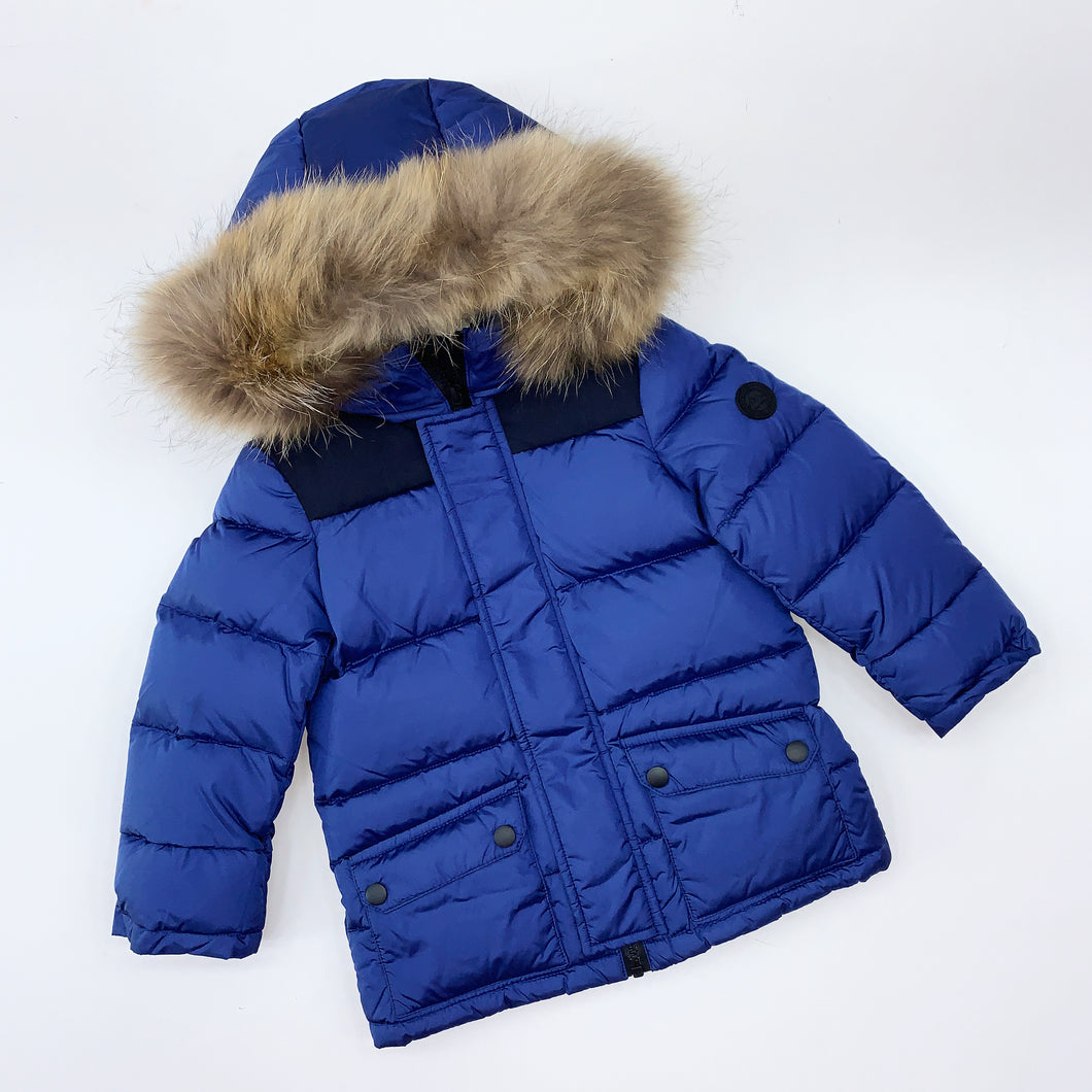 Baby A WINTER 2020 Boys royal blue hooded coat