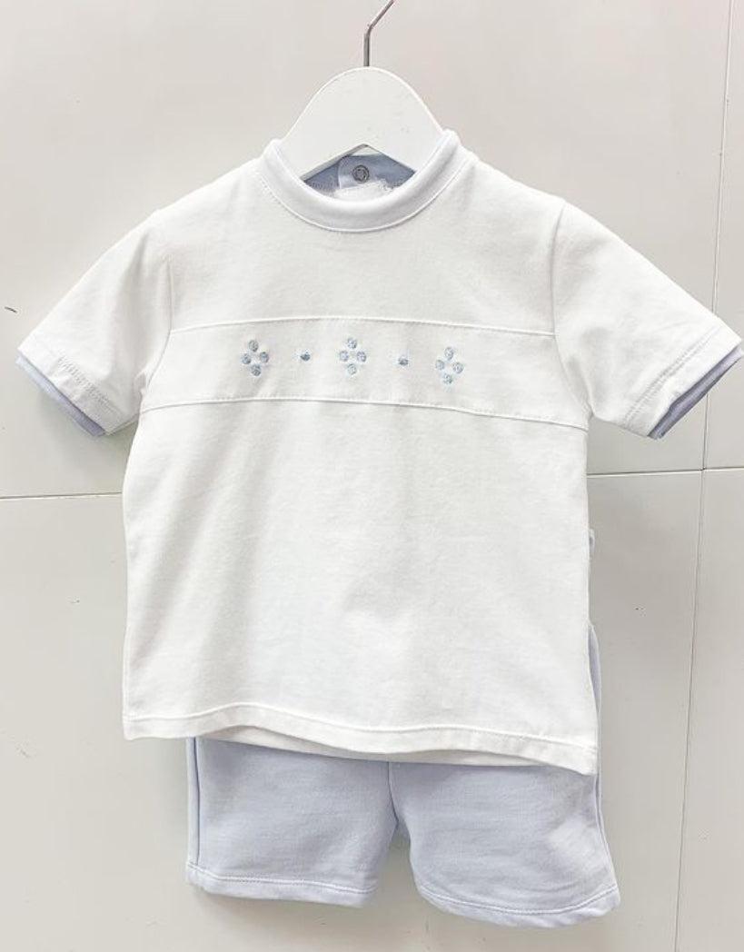 Pastels & co Baby blue and white short set