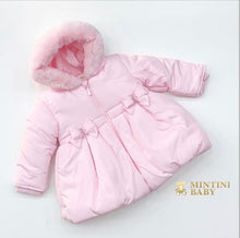 Load image into Gallery viewer, MINTINI BABY Girls Pink Bow Fur Hood Coat