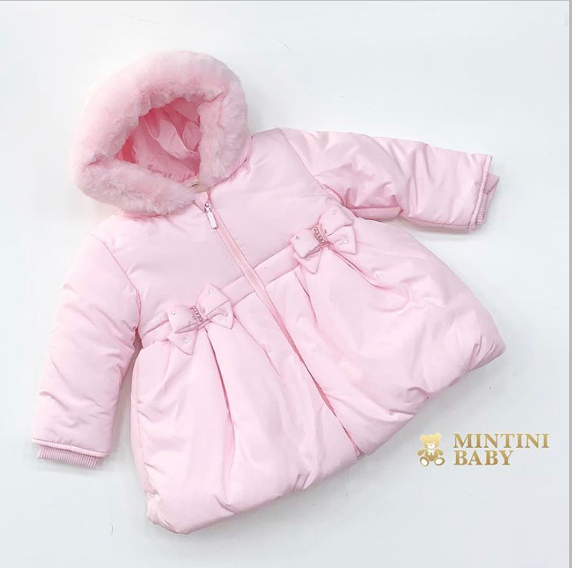 MINTINI BABY Girls Pink Bow Fur Hood Coat