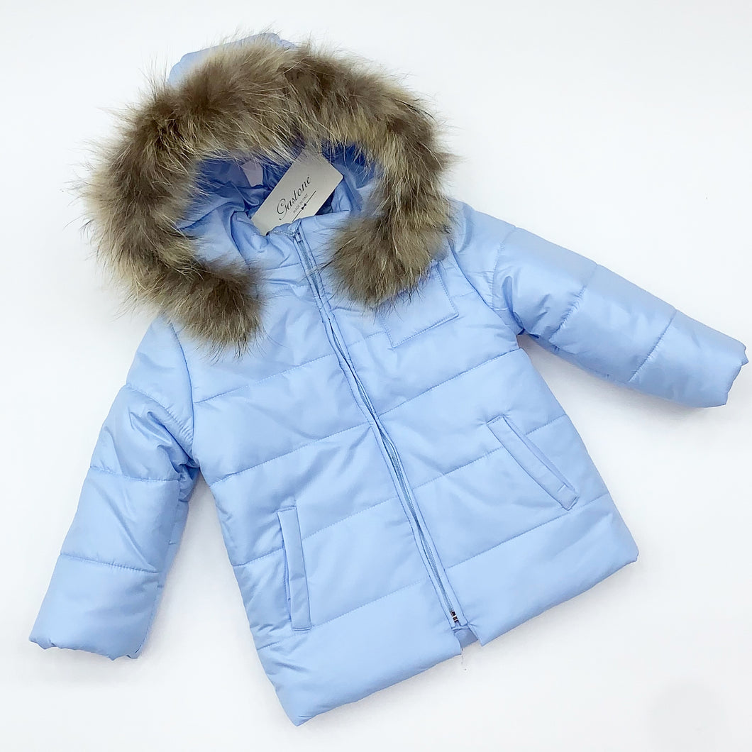 BUFI WINTER 2020 baby boys blue fur coat