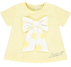 Little A 'Kadence' Sunshine Bow Frill T-Shirt and Short Set LS21411 PRE ORDER