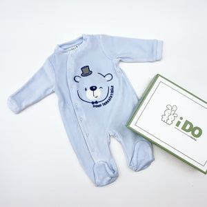 iDO Boys Baby Blue Velour Baby Grow with embroidered Teddy Bear