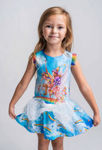 Load image into Gallery viewer, Rosalita Señorita 'Atkinson' Unicorn and Rainbow Print Frill Dress