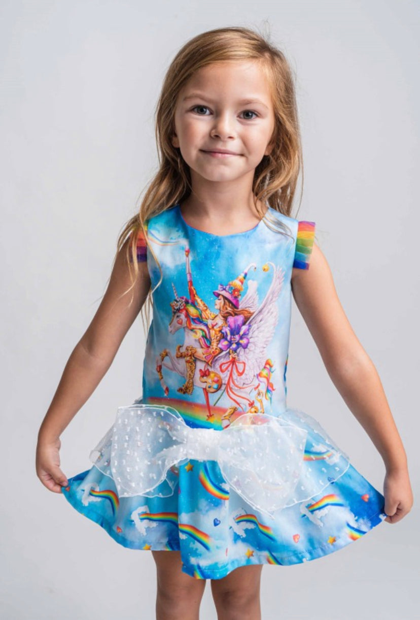 Rosalita Señorita 'Atkinson' Unicorn and Rainbow Print Frill Dress