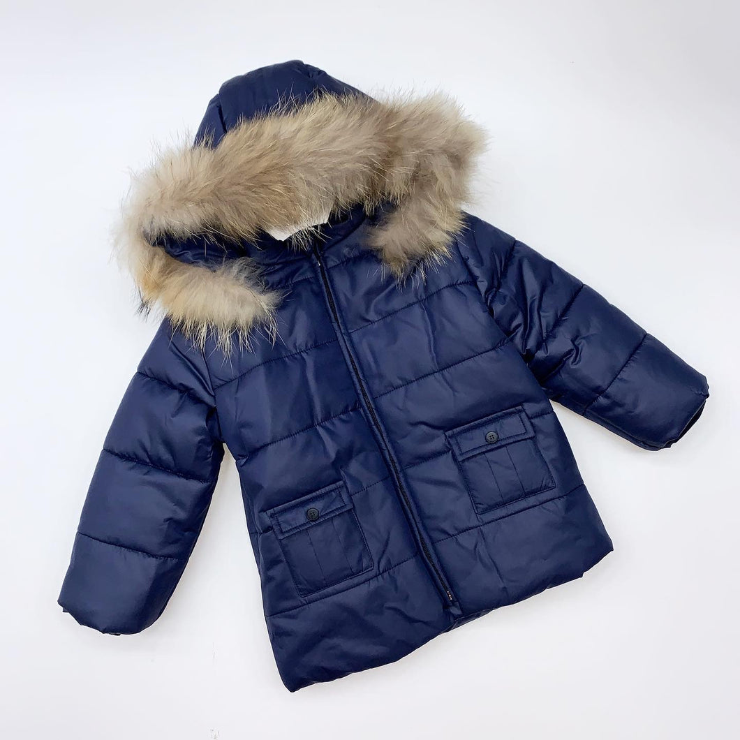 BUFI BOYS WINTER 2020 Navy hooded coat with button pocket
