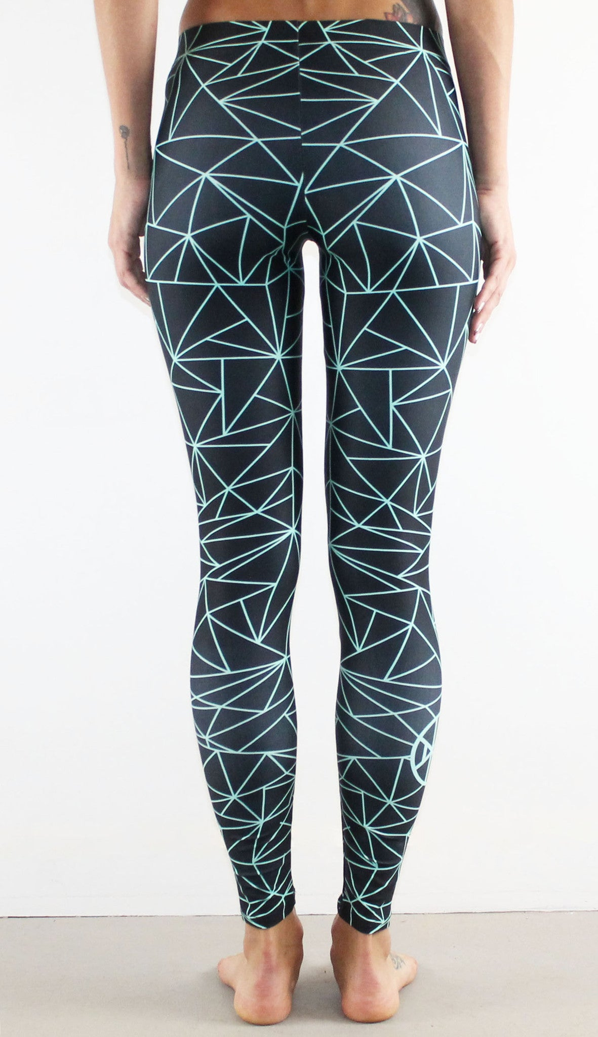 Fractal Leggings // Mint on Black