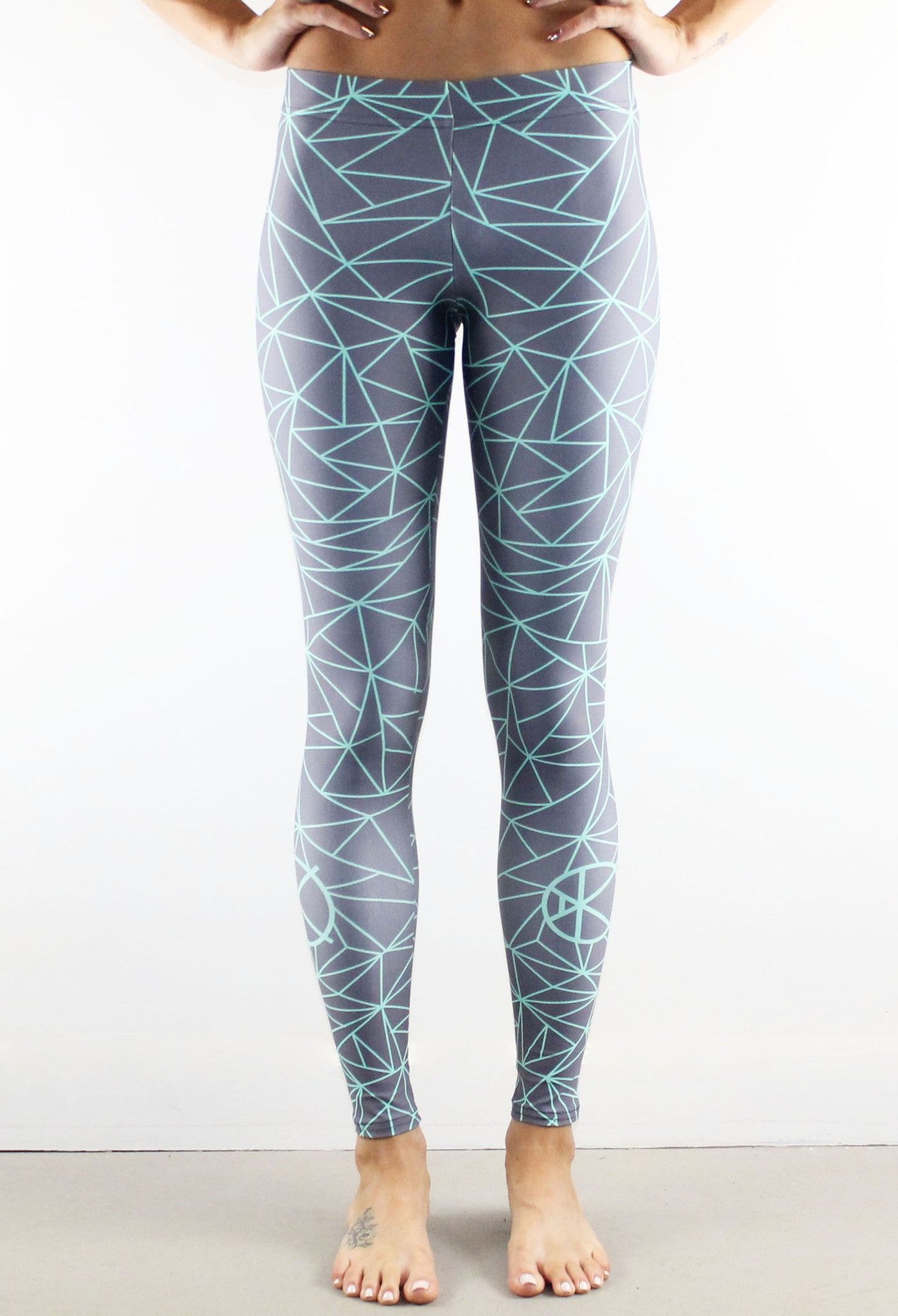 Fractal Leggings // Mint on Grey