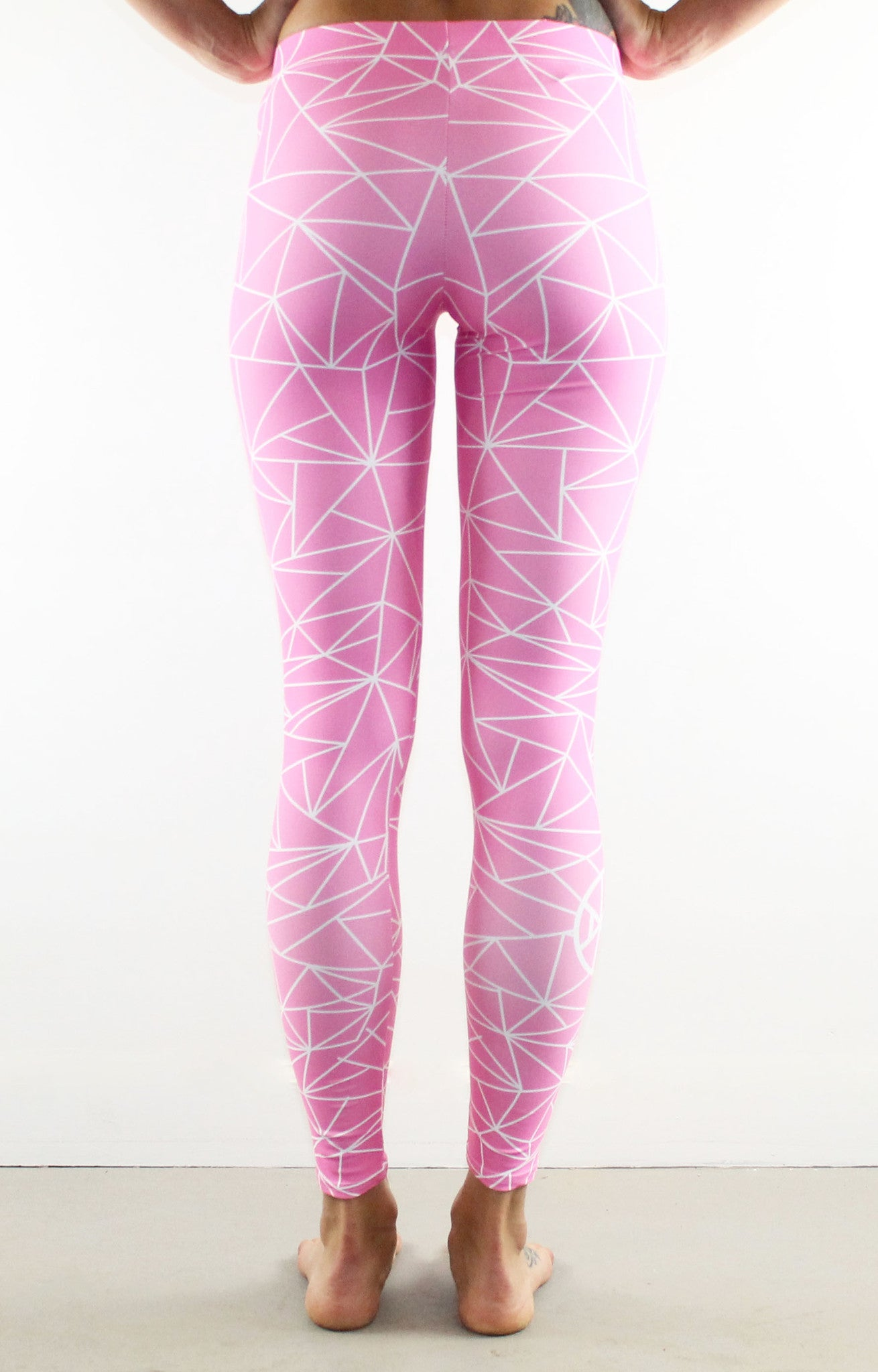 Fractal Leggings // White on Pink