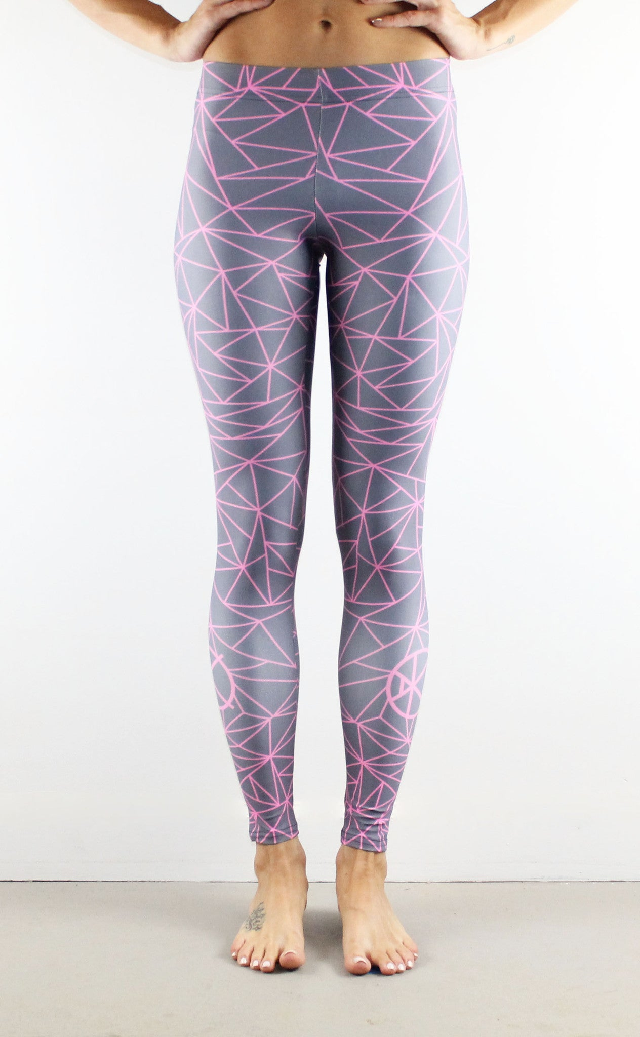 Fractal Leggings // Pink on Grey