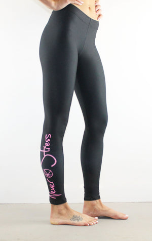 Never Stress Leggings // Pink on Black