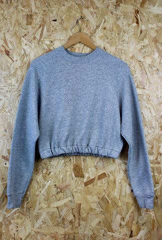 Cropped Elastic Hem Sweater