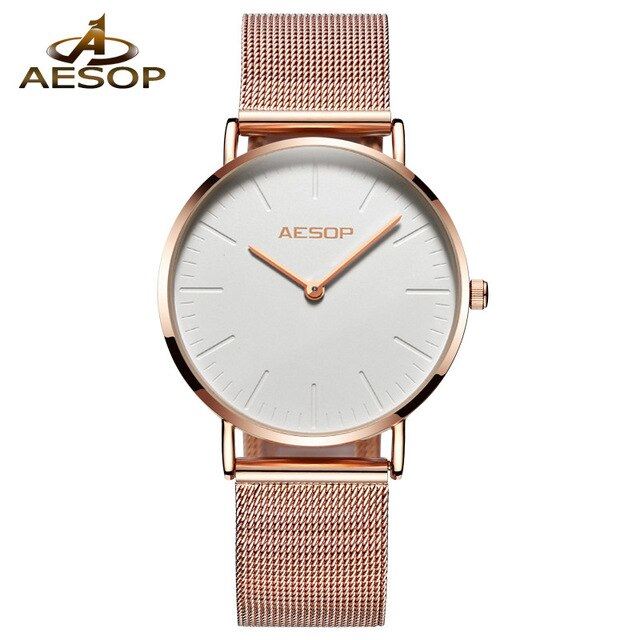 Watch For Women Brief Elegant Quartz WristwatchSimple Thin Ladies Clock Waterproof Dress Womens Watch AESOP Rose Gold Ladies