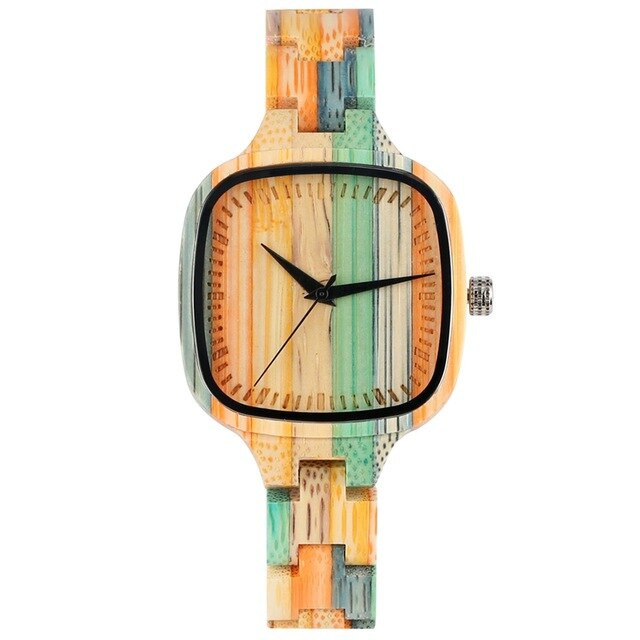 Unique Colorful Wood Watch Women's Watch Fashion Color Stitching Bamboo Wooden Quartz Top Luxury Wristwatches for Ladies Girls