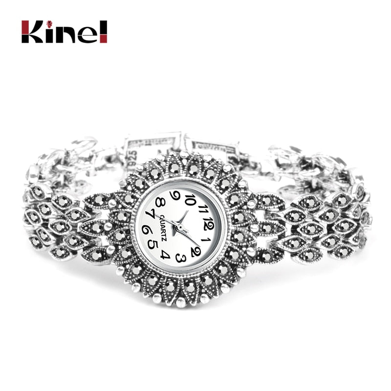 Kinel Fashion Antique Tibetan Silver Quartz Wristwatch Women's Bracelet Watches Luxury Lady Dress Watches Crystal Jewelry Gifts